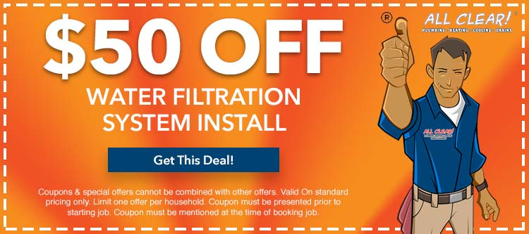 discount on water filtration system install in Essex County, NJ